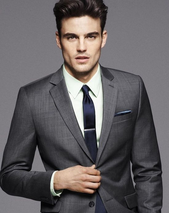 Grey suit, white shirt and blue tie color combination
