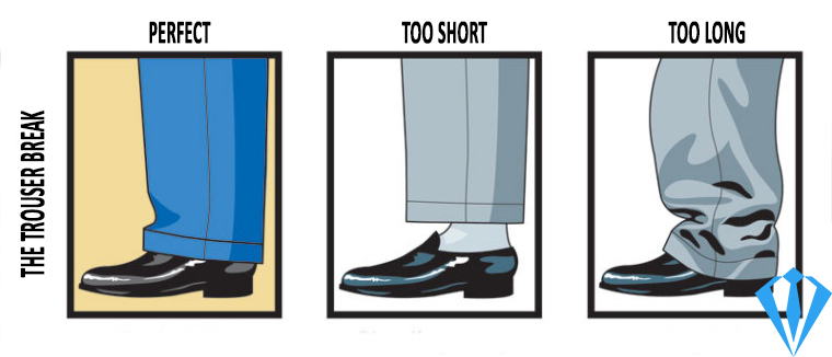 Perfect suit pants trouser break vs. too short vs. too long
