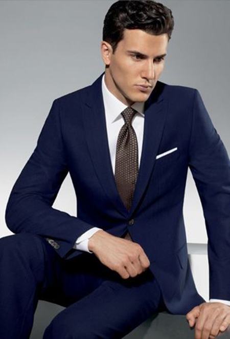 Navy suit, white shirt. brown tie and white pocket square color combinations