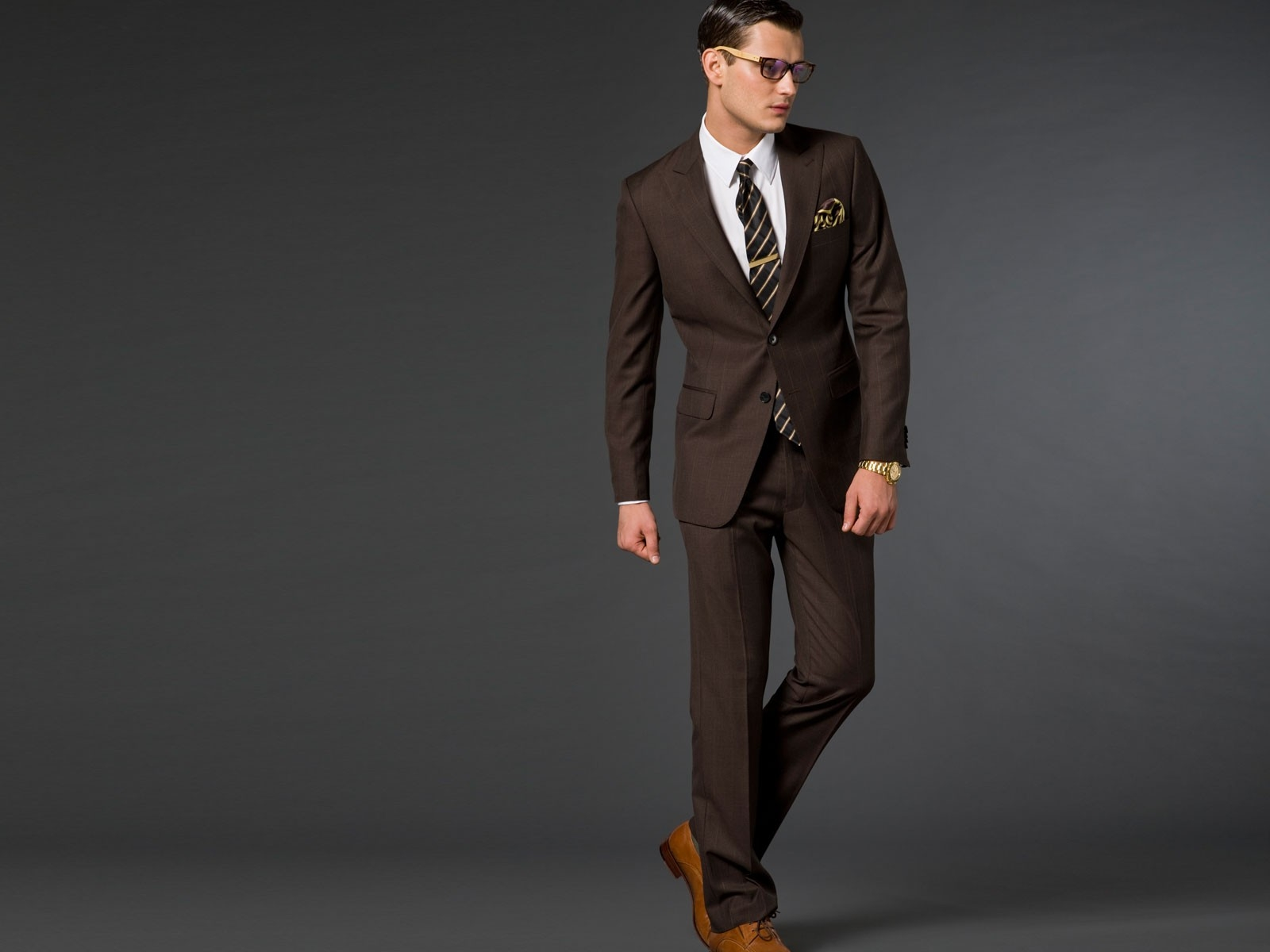 Gray Suit And Brown Shoes