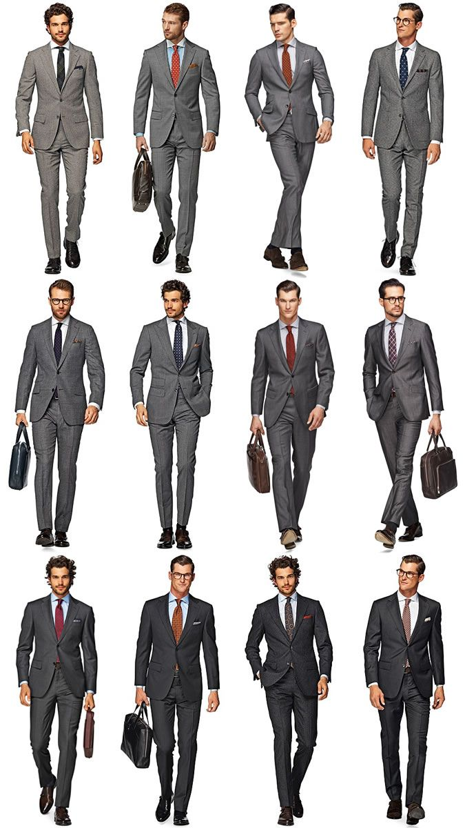 Charcoal grey different shades of suit, shirt and tie combinations