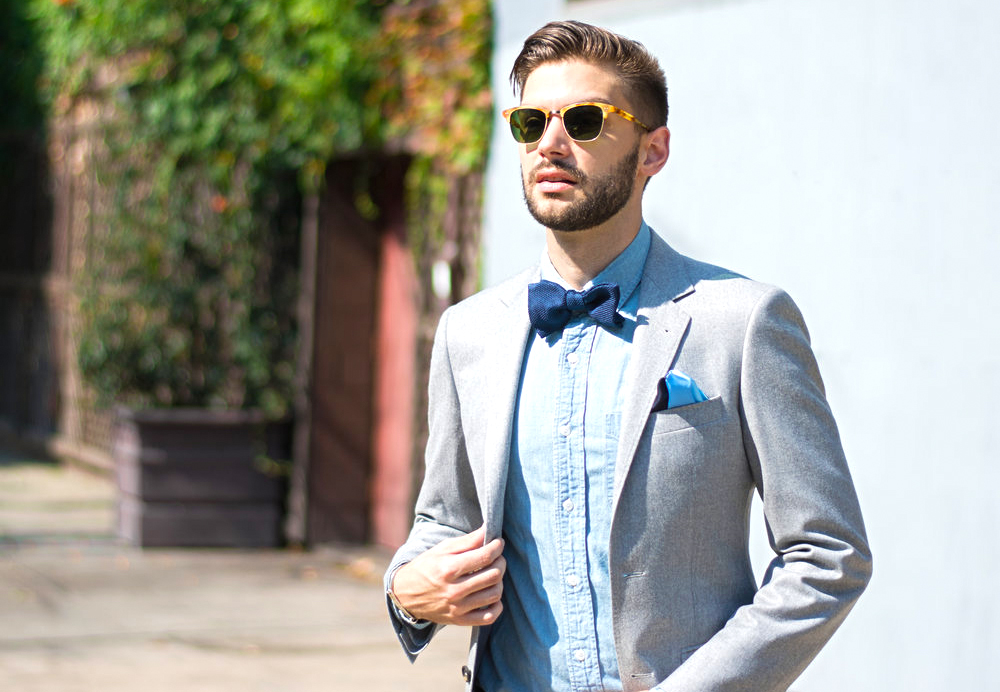 casual attire with a bow tie