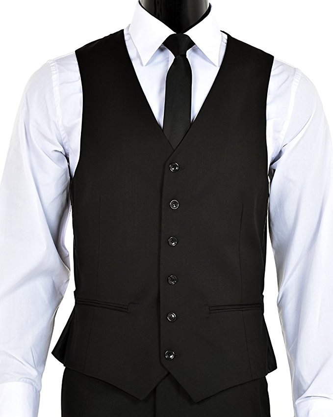 Two-button three piece regular fit suit vest by Elegant