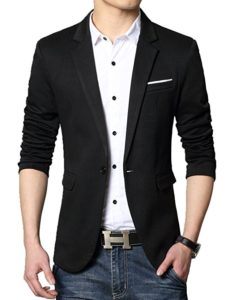 Casual slim-fit one button jacket by David Ann