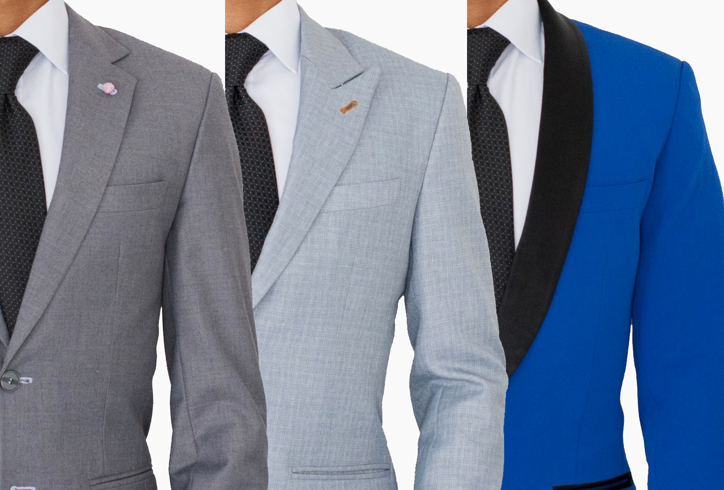 Different lapel types: notch lapel vs. peak lapel vs. shawl lapel