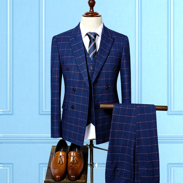 Blue Double Breasted Three Piece suit