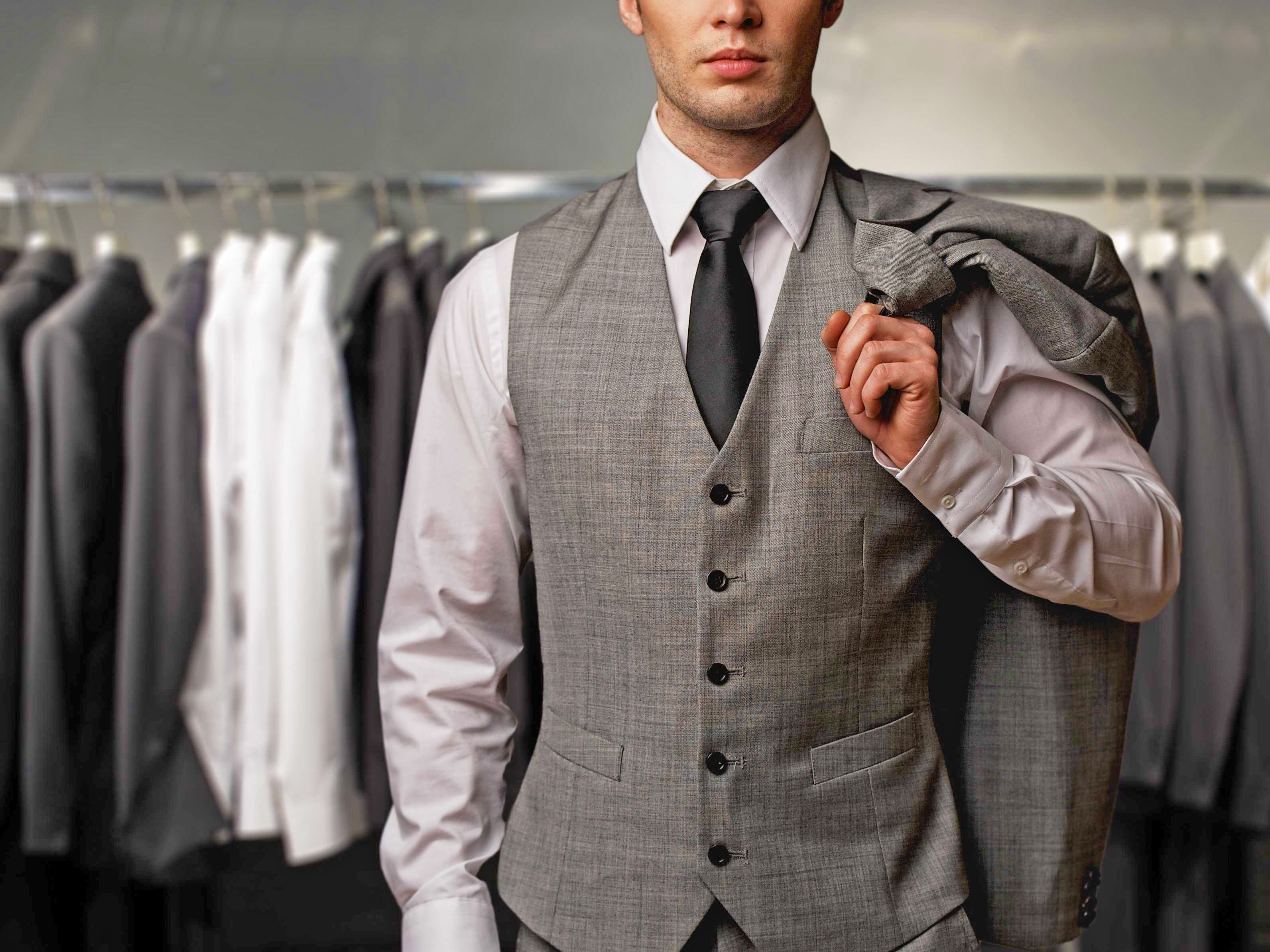 Grey suit with a grey vest
