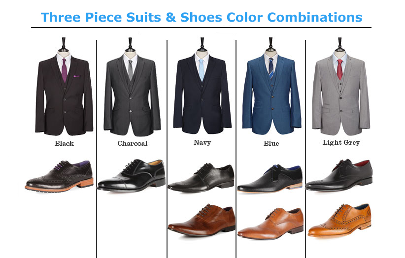 Three Piece suits & Shoes Color Combinations