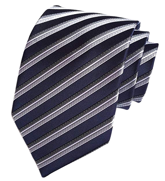 Secdtie Striped navy, white and black tie