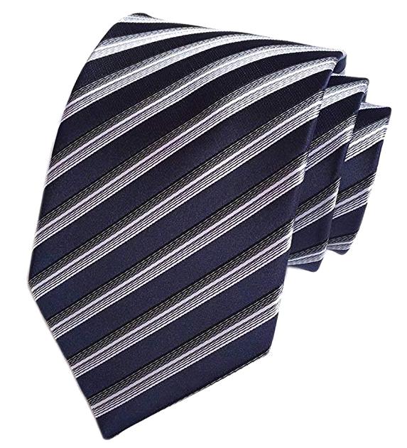 Secdtie Striped navy, white and black tie