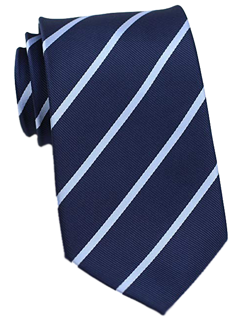 Striped dark blue tie with powder-blue stripes by Bows&Ties