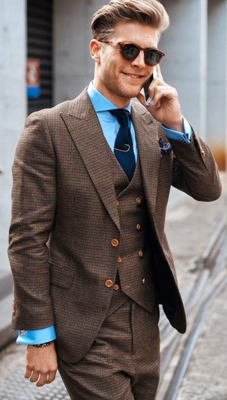 Brown suit, light blue shirt & navy tie color combination
