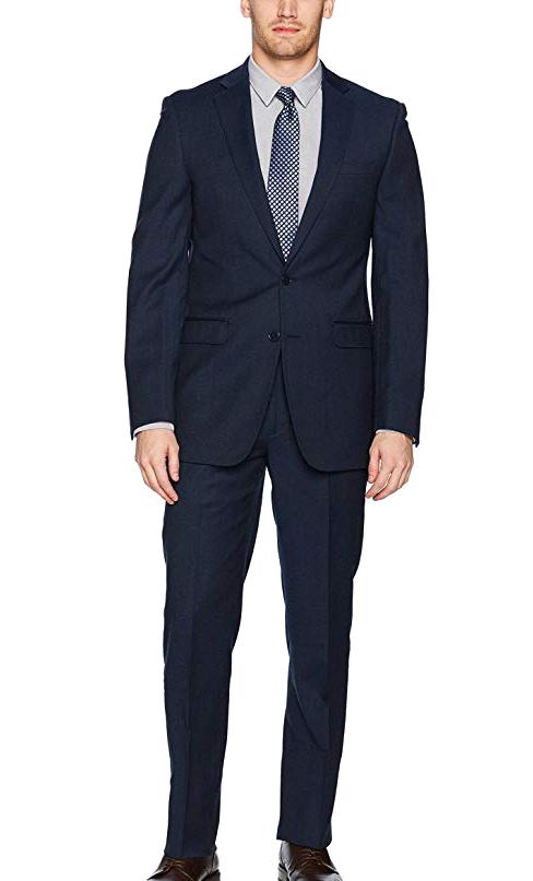 Calvin Klein slim fit wool suit in dark navy color