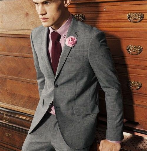 Grey suit pink shirt color combination