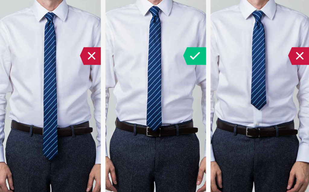 How to fit your tie's length: Wrong tie length vs. correct tie length