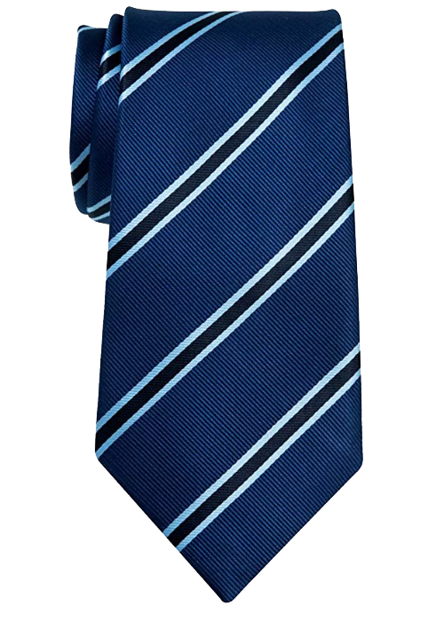 British-striped navy blue tie by Retreez