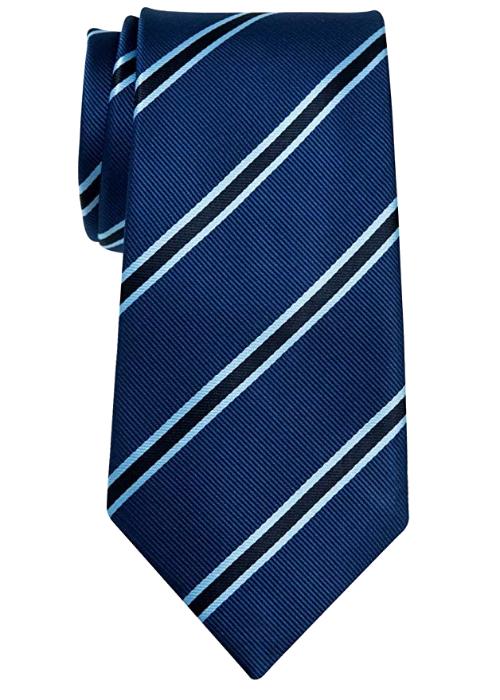British-striped navu blue tie by Retreez