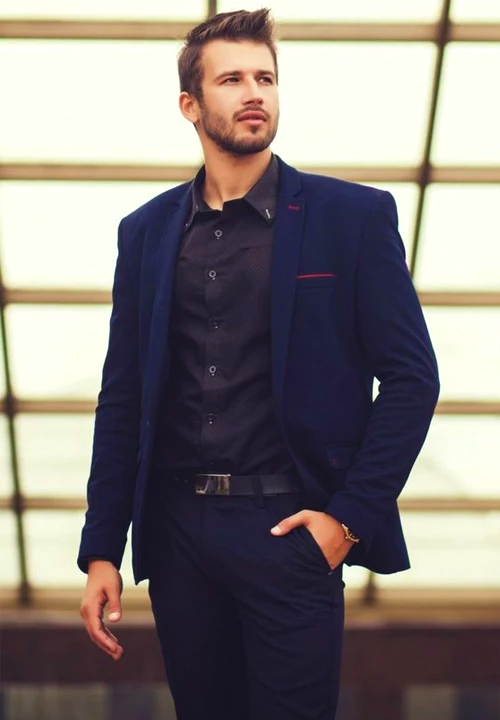 Dark blue suit with black shirt color combination
