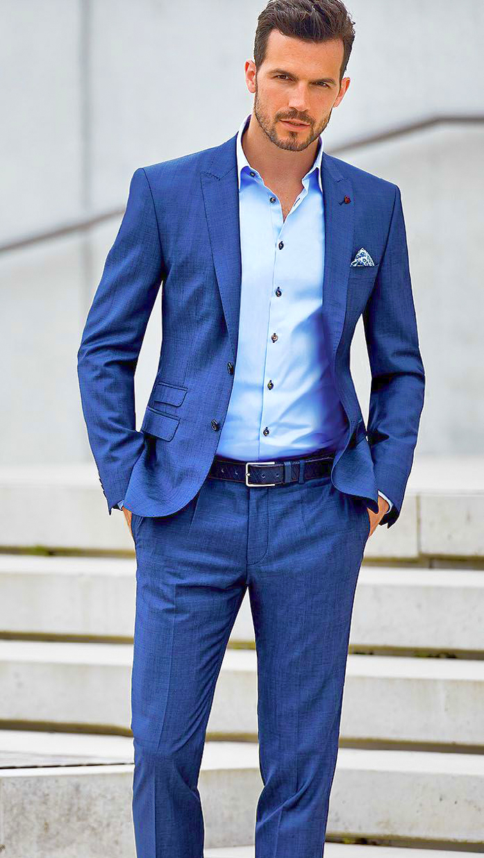 Blue suit with blue shirt color combination