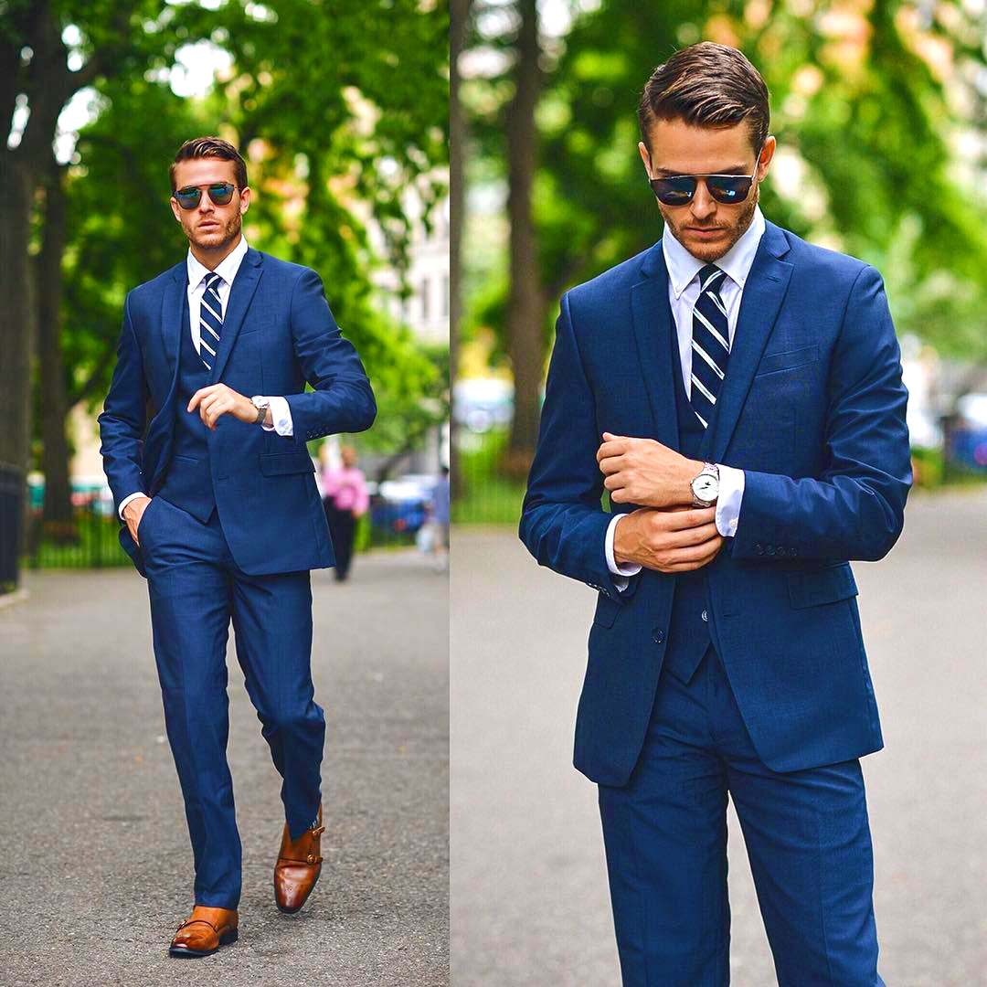 Blue suits are both serious and luxury