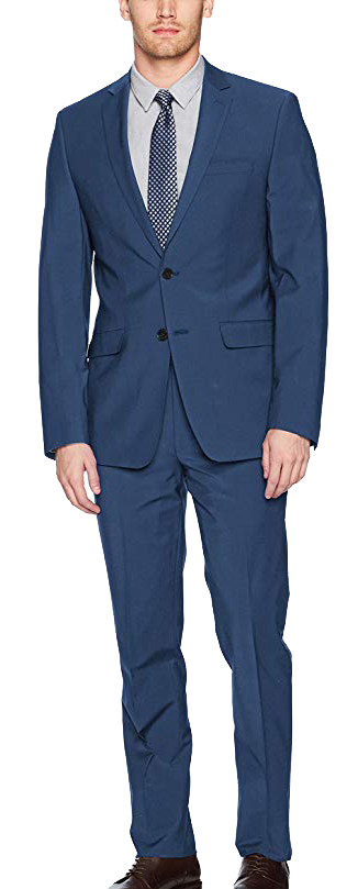 Slim Fit Stretch Wool Blue Suit by Calvin Klein