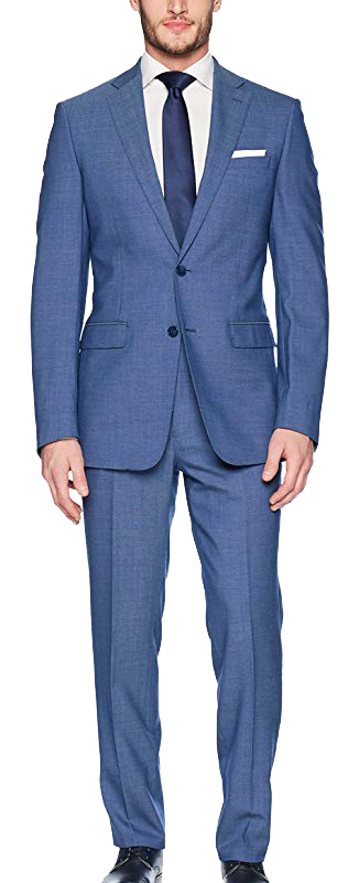 Slim Fit Wool Blue Suit by Calvin Klein