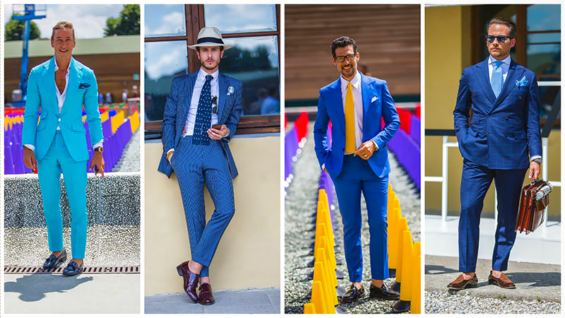 Different blue suit styles