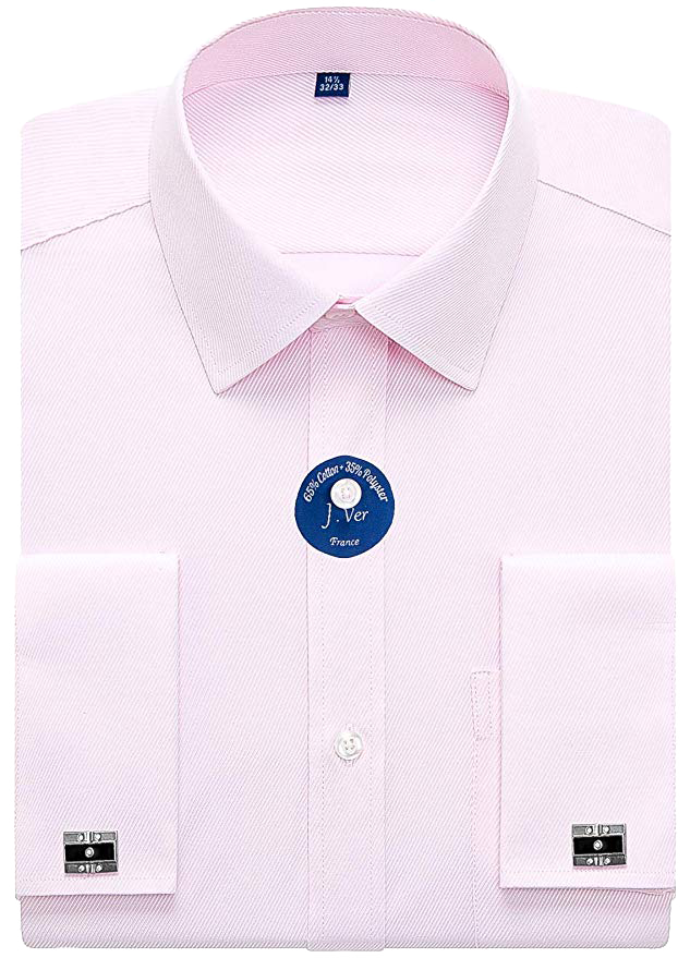 Classic-fit pink shirt w/ metal cufflink by J.Ver
