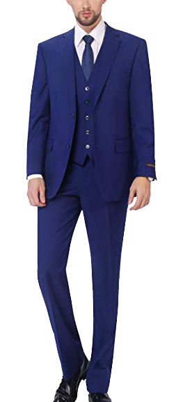 Three-Piece Classic Fit Blue Suit by P&L