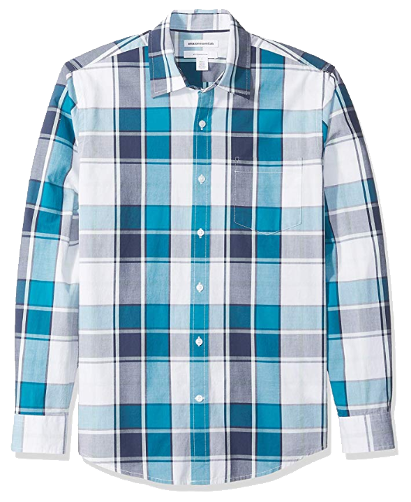 Teal/Navy slim fit shirt by Amazon Essentials