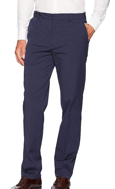 Navy flat front chino pants by Van Heusen