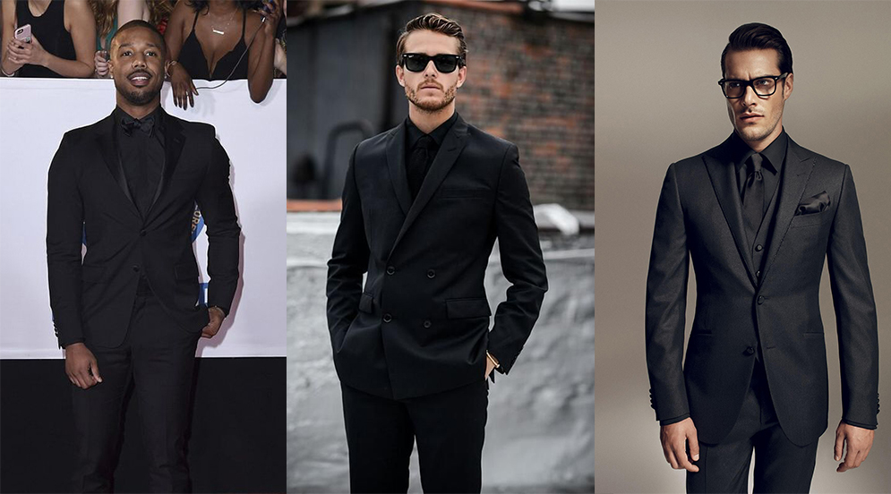 Black suit & black shirt color combinations