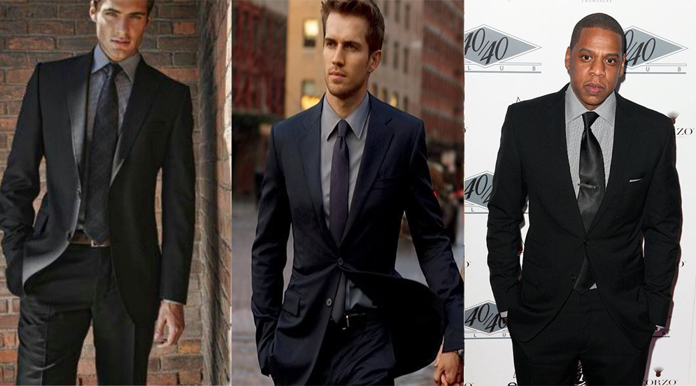 Black suit & grey shirt color combinations