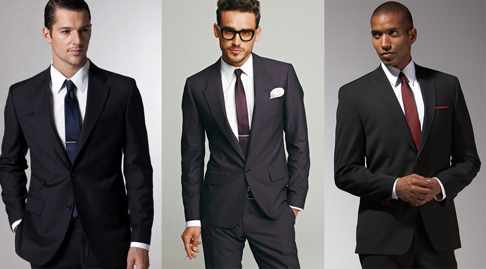Black suit & white shirt color combinations