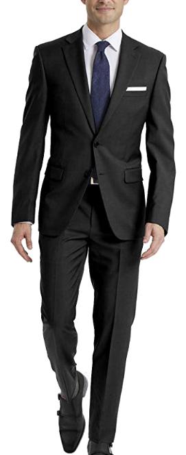 Stretch slim fit black suit by Calvin Klein