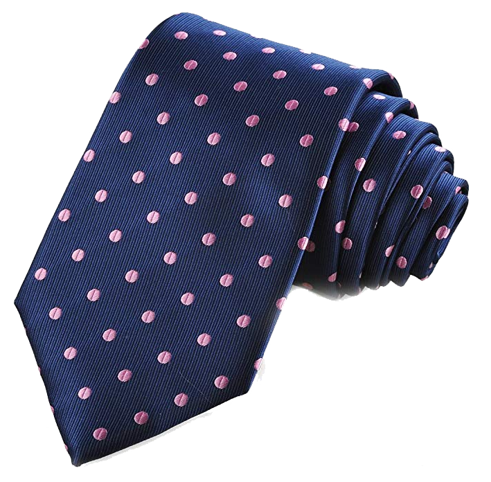 Polka dot navy tie with pink dots by Kissties