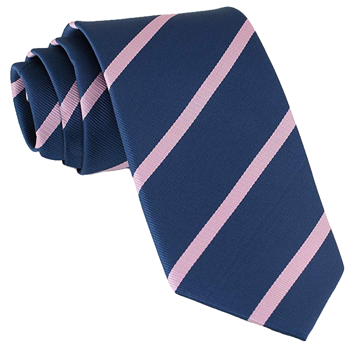 Striped Navy tie with pink stripes by Luther Pike Seattle