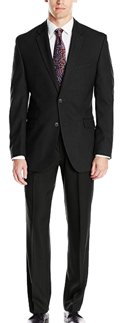 Slim-fit black suit by Perry Ellis