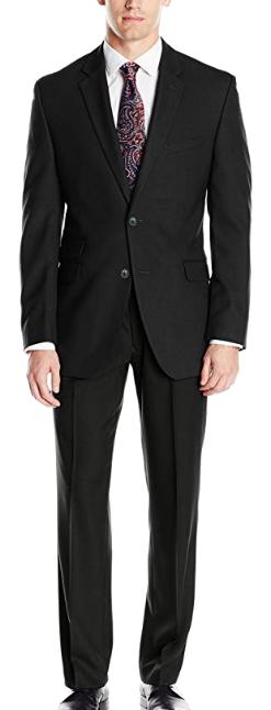 Slim-fit black suit by Perry Ellis