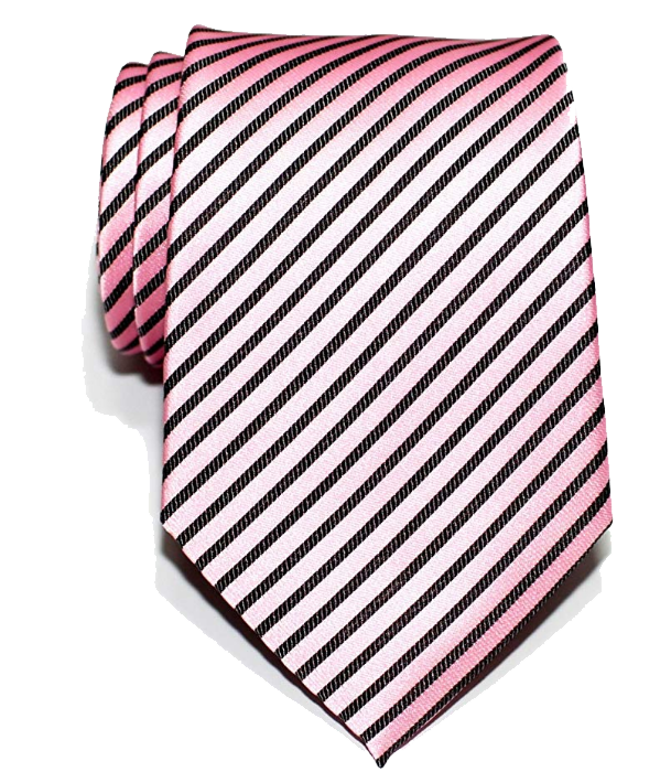 Striped pink tie with black stripes by Retreez
