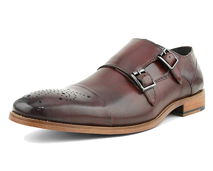 Double monk strap burgundy shoes by Asher Green
