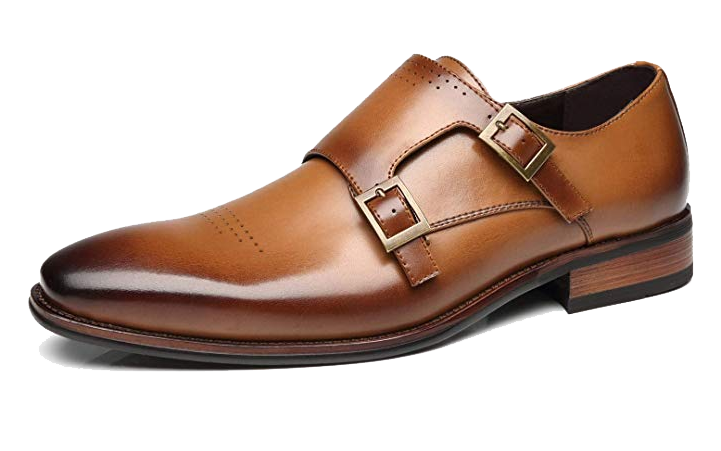 Brown double monk strap shoes by Faranzi
