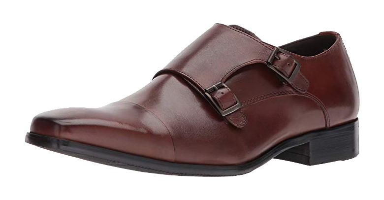 Brown monk strap shoes by Kenneth Cole