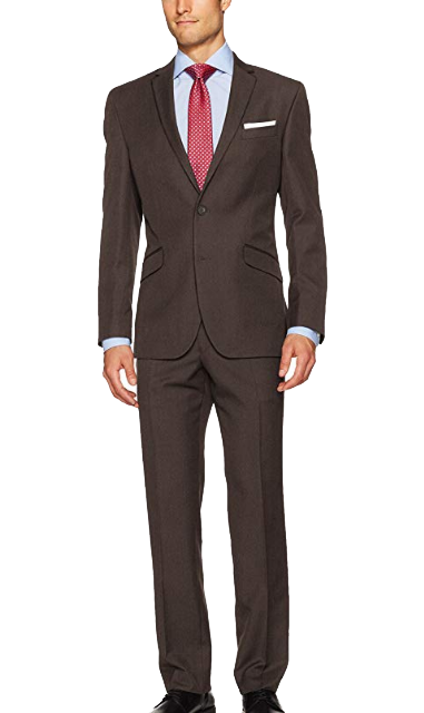 Slim fit brown suit by Kenneth Cole