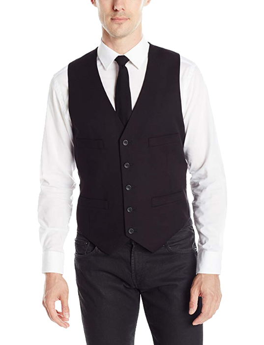 Three-piece set: slim-fit black suit vest by Kenneth Cole