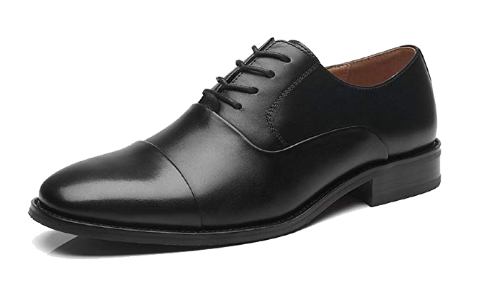 Black cap-toe Oxford shoes by La Milano