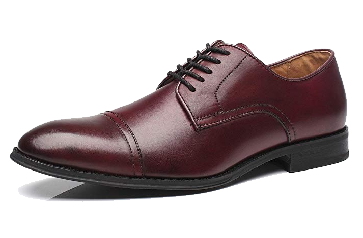 Burgundy cap-toe derby shoes by La Milano