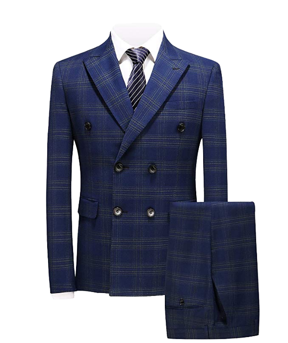 Three-piece double-breasted slim fit navy suit by MOGU