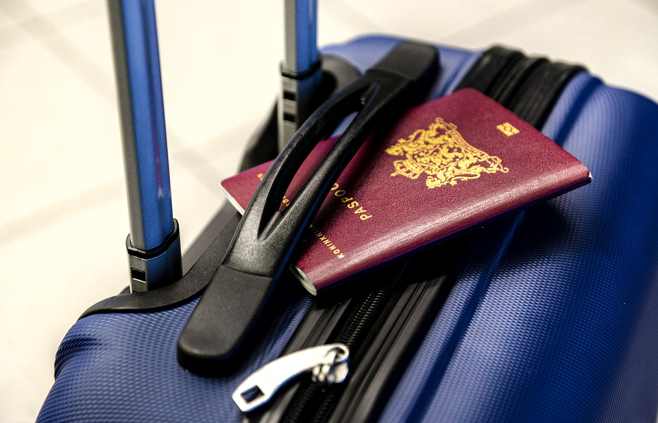 Passport and baggage for traveling