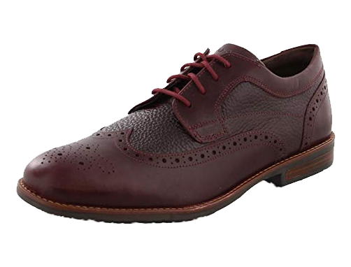 Burgundy brogue derby shoes by Rockport